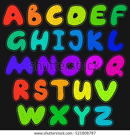 Alphabet cartoon sticker style text. Colorful doodle art letters