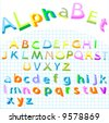 alphabet - collection of colored letters for kids - stock photo