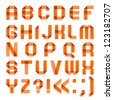 Alphabet folded of colored paper - Orange letters. Roman alphabet (A, B, C, D, E, F, G, H, I, J, K, L, M, N, O, P, Q, R, S, T, U, V, W, X, Y, Z). - stock vector