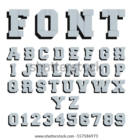 Alphabet font template. Letters and numbers paper design. Vector illustration.