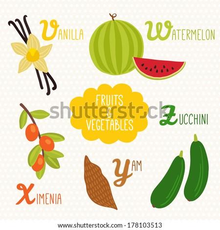 Alphabet Kids Fruits Ve ables Letters V Stock Vector