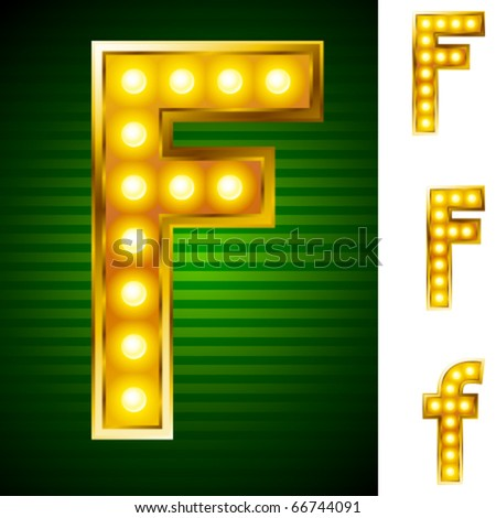 Alphabet for signs with lamps. Letter f
