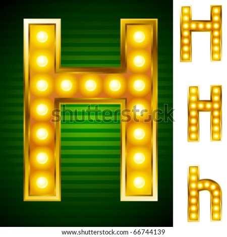 Alphabet for signs with lamps. Letter h