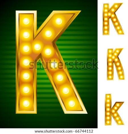 Alphabet for signs with lamps. Letter k