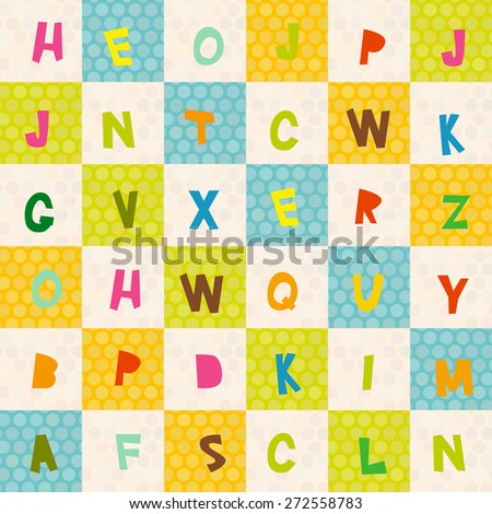 alphabet  from A to Z seamless pattern. Polka dot background with green blue orange square. Vector