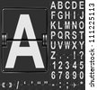 Alphabet in airport arrival and departure display style template. Easy to put together any words and numbers. - stock photo