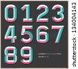 Alphabet numbers vintage colour style. Vector illustration. - stock photo