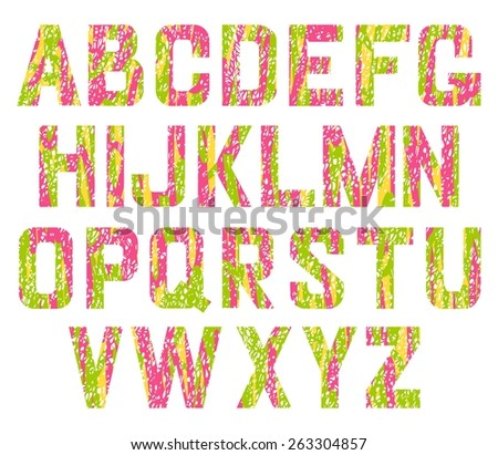 Alphabet pink and green pastel vector set