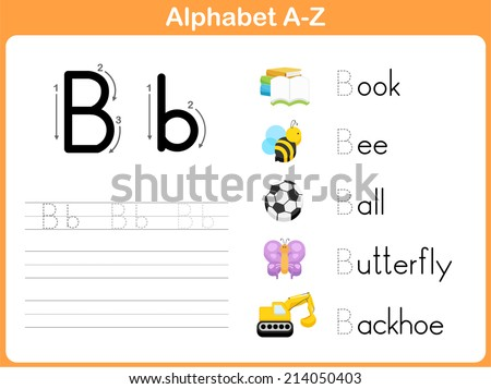 Alphabet Tracing Worksheet Writing Az Stock Vector 214050466 ...