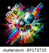 Alternative Discoteque Music Flyer with Attractive Rainbow Colours and an explosion of colurs and lights. - stock vector