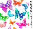 Amazing colorful background with butterflies painted with watercolors (vector illustration). Seamless pattern. - stock photo
