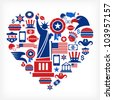 America love - heart shape with many vector icons - stock photo