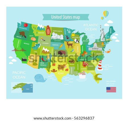 Funny Cartoon World Map People Various Stock Vector - Funny maps of the us