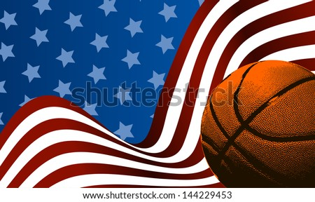 American Basketball background ball