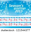 American Calendar 2013 with US Holidays. Sunday week start.  Vector blue background with christmas tree, snowflakes border and Season's greetings text - stock photo