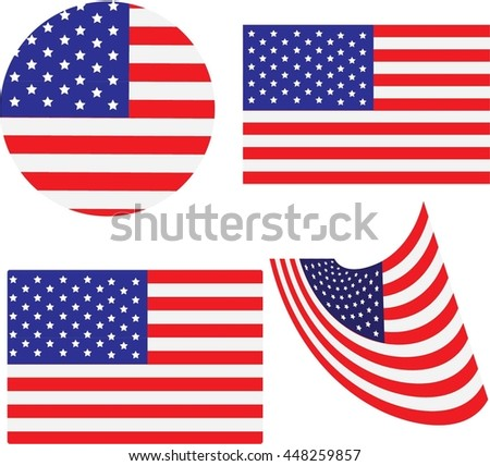 American Flag and design USA, USA button flag