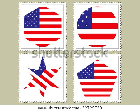American flag inspired by a stamp with a drop shadow