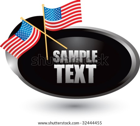 american flags on silver swoosh banner