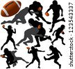 American Football Vector Silhouettes. Layered. Fully Editable. - stock photo
