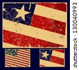 American grunge flag, retro series. Vector set. - stock photo