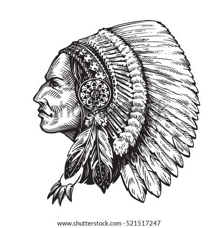 Indian Chief Logo Icon Vector Mascot Stock Vector