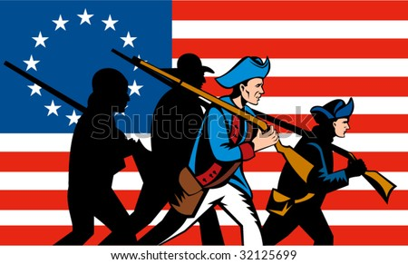 American minutemen marching with Betsy Ross flag in the background