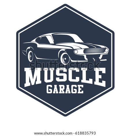 Set classic muscle car logo stock vector 618835571 for American classic logo