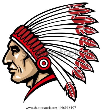American Native Chief Head Mascot Stock Vector 375224437 ...