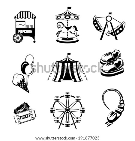 Amusement entertainment park black and white  icons set isolated vector illustration