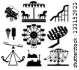 Amusement Park icons - stock photo