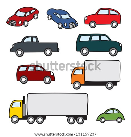an assortment of various types of cartoon cars and trucks