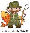 An illustration of a fisherman - stock vector