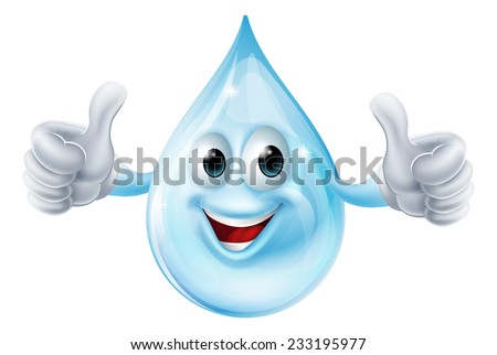 An illustration of a water drop character giving a thumbs up