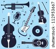 An illustration of various musical instruments - stock vector
