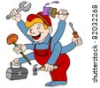 An image of a handyman who is a jack of all trades. - stock vector