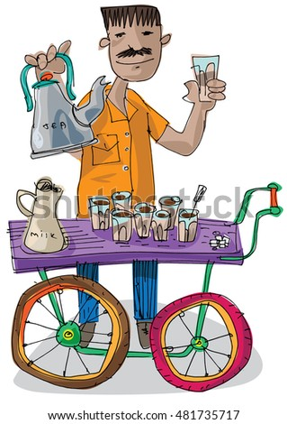 an indian street tea vendor cart - chai walla - cartoon