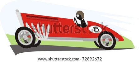 An old racer dashing along the racing circuit - color vector cartoon illustration