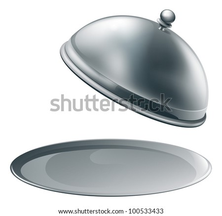 An open empty metal silver platter or cloche with space to place object or text on it