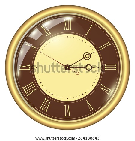 Analog Clock Isolated on a White Background. Vector Clock with Roman Numerals