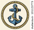 anchor and rope design - stock vector