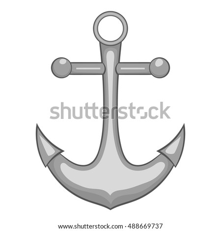 Anchor icon in black monochrome style isolated on white background. Part of the ship symbol vector illustration