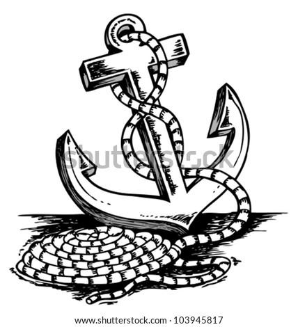 Anchor Wheel Drawing Ships Wheel And Anchor Drawing