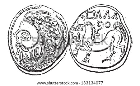 Ancient Celtic DiDrachma Coin, showing Head (front) and Belgian Horse (back), vintage engraved illustration. Dictionary of Words and Things - Larive and Fleury - 1895