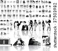 Ancient egypt set of black sketch. Part 2. Isolated groups and layers. - stock vector