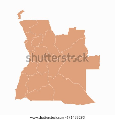 Angola Provinces Map Grey Stock Vector Shutterstock - Angola provinces map