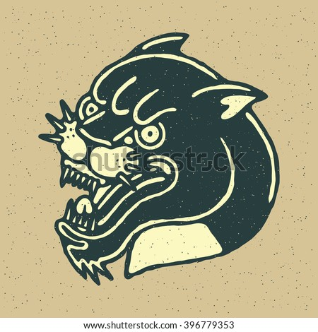 Angry Black Panther Head. Traditional Tattoo Flash. Vector illustration On Grunge Texture Background