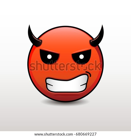 Red Devil Emoticon Emoji Smile On Stock Vector 622705037 ...
