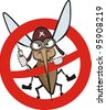 angry mosquito - warning sign - stock vector