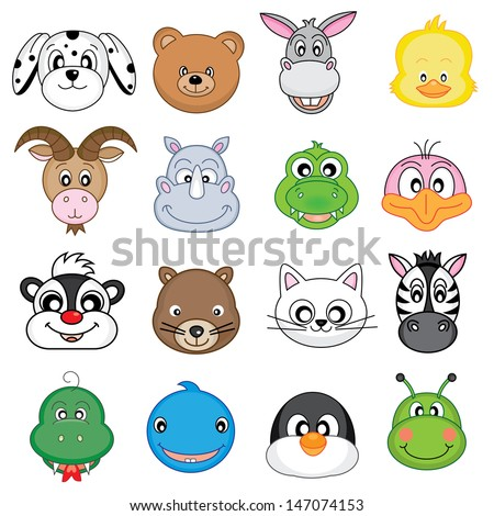 Animal Faces Set. Vector