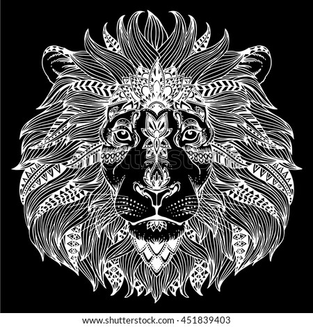 Tiger Head Zodiac Artistic Ornament Black Stock Vector